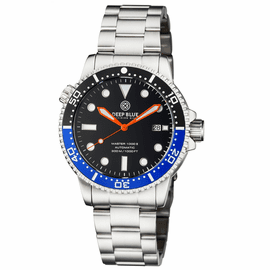 MASTER  1000 II  44MM  AUTOMATIC DIVER BLACK/BLUE CERAMIC BEZEL -BLACK GLOSSY DIAL-ORANGE HANDS