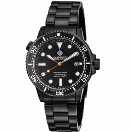 MASTER  1000 II  44MM  AUTOMATIC DIVER BLACK CERAMIC BEZEL -BLACK DIAL-PVD BLACK CASE ORANGE SECOND HAND
