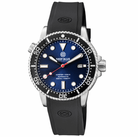 MASTER  1000 II  44MM  AUTOMATIC DIVER BLACK CERAMIC BEZEL -  BLUE  SUNRAY DIAL RED SECOND HAND