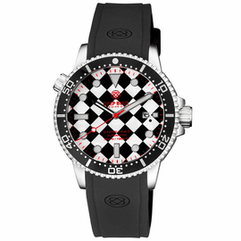 MASTER 1000 II 44MM AUTOMATIC DIVER BLACK CERAMIC BEZEL – CHECKERBOARD PATTERN RED SECOND HAND STRAP
