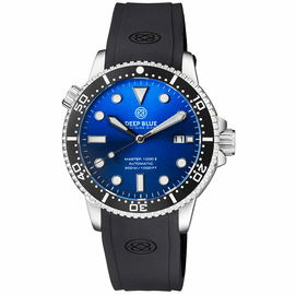 MASTER 1000 II 44MM AUTOMATIC DIVER BLACK CERAMIC BEZEL SUNRAY LIGHT BLUE DIAL STRAP