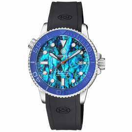 MASTER  1000 II  44MM  AUTOMATIC DIVER BLUE EMBOSSED CERAMIC BEZEL -BLUE ABALONE DIAL STRAP