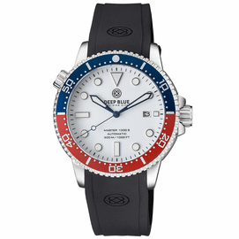 MASTER 1000 II  44MM  AUTOMATIC DIVER BLUE / RED CERAMIC BEZEL �WHITE GLOSSY DIAL � BLUE HANDS