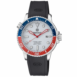 MASTER 1000 II  44MM  AUTOMATIC DIVER BLUE / RED CERAMIC BEZEL � WHITE GLOSSY DIAL � RED HANDS