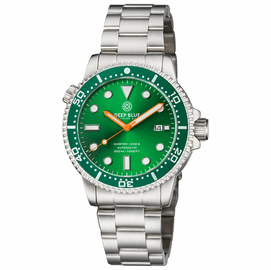 MASTER  1000 II  44MM  AUTOMATIC DIVER GREEN CERAMIC BEZEL -GREEN SUNRAY DIAL-ORANGE HANDS