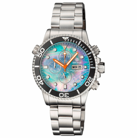 MASTER 1000 QUARTZ CHRONOGRAPH  DIVER BLACK BEZEL – PLATINUM MOTHER OF PEARL DIAL BRACELET