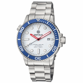 MASTER 1000 USA AUTOMATIC DIVER BLUE BEZEL -WHITE GLOSSY DIAL BRACELET