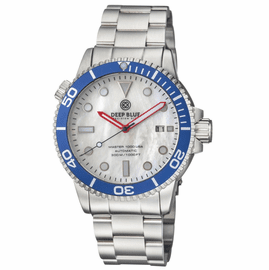 MASTER 1000 USA AUTOMATIC DIVER BLUE BEZEL -WHITE MOTHER OF PEARL DIAL BRACELET
