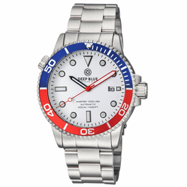 MASTER 1000 USA AUTOMATIC DIVER BLUE/RED BEZEL -WHITE DIAL BRACELET
