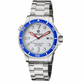 MASTER 1000 USA AUTOMATIC DIVER CERAMIC BLUE BEZEL -WHITE GLOSSY DIAL BRACELET