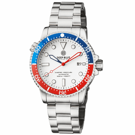 MASTER 1000 USA AUTOMATIC DIVER CERAMIC BLUE/RED BEZEL -WHITE DIAL BRACELET