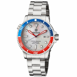 MASTER 1000 USA AUTOMATIC DIVER CERAMIC BLUE/RED BEZEL -WHITE MOTHER OF PEARL DIAL BRACELET