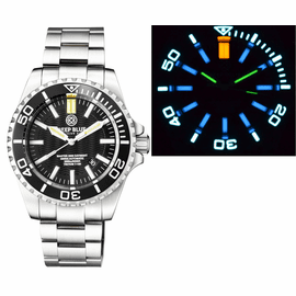 MASTER 2000 DAYNIGHT T-100 TRITIUM SWISS AUTOMATIC DIVER BLACK BEZEL - BLACK DIAL SS  CASE