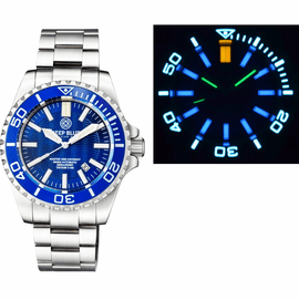 MASTER 2000 DAYNIGHT T-100 TRITIUM SWISS AUTOMATIC DIVER BLUE BEZEL � DARK BLUE DIAL SS CASE