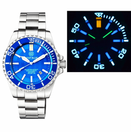 MASTER 2000 DAYNIGHT T-100 TRITIUM SWISS AUTOMATIC DIVER BLUE BEZEL � LIGHT BLUE DIAL SS CASE