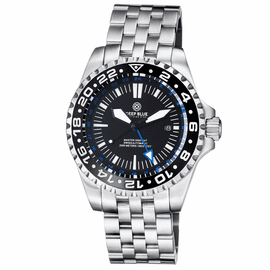 MASTER 2000 GMT  AUTOMATIC DIVER-  ETA 2893-2 SWISS MADE MOVEMENT BLACK BLUE