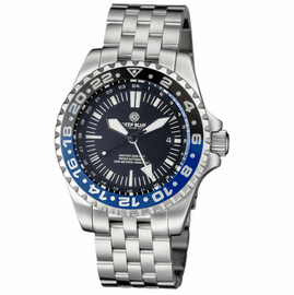 MASTER 2000 GMT AUTOMATIC DIVER-  ETA 2893-2  SWISS MADE MOVEMENT BLACK/BLUE BEZEL � WHITE GMT HAND