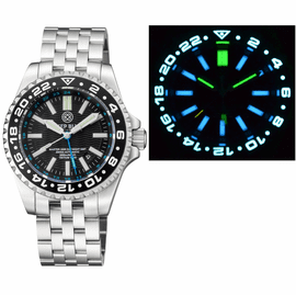 MASTER 2000 GMT  DAYNIGHT T-100 TRITIUM AUTOMATIC DIVER-  ETA 2893-2  SWISS MADE MOVEMENT  BLACK BEZEL BLACK DIAL BLUE GMT HAND