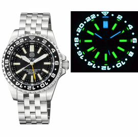 MASTER 2000 GMT  DAYNIGHT T-100 TRITIUM AUTOMATIC DIVER-  ETA 2893-2  SWISS MADE MOVEMENT  BLACK BEZEL BLACK DIAL YELLOW GMT HAND GREEN TUBES