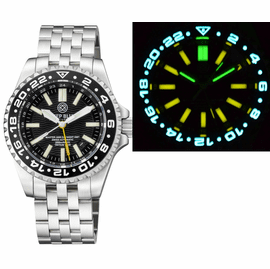 MASTER 2000 GMT  DAYNIGHT T-100 TRITIUM AUTOMATIC DIVER-  ETA 2893-2  SWISS MADE MOVEMENT  BLACK BEZEL BLACK DIAL YELLOW GMT HAND YELLOW TUBES