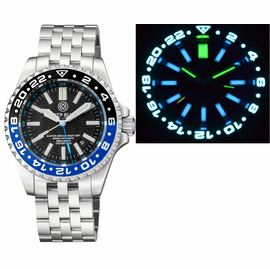 MASTER 2000 GMT  DAYNIGHT T-100 TRITIUM AUTOMATIC DIVER-  ETA 2893-2  SWISS MADE MOVEMENT  BLACK/BLUE  BEZEL BLACK DIAL BLUE GMT HAND