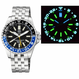 MASTER 2000 GMT  DAYNIGHT T-100 TRITIUM AUTOMATIC DIVER-  ETA 2893-2  SWISS MADE MOVEMENT  BLACK/BLUE  BEZEL BLACK DIAL YELLOW GMT HAND GREEN TUBES