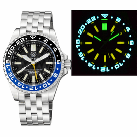 MASTER 2000 GMT  DAYNIGHT T-100 TRITIUM AUTOMATIC DIVER-  ETA 2893-2  SWISS MADE MOVEMENT  BLACK/BLUE  BEZEL BLACK DIAL YELLOW GMT HAND YELLOW TUBES