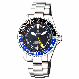 MASTER 500 42MM GMT AUTOMATIC DIVER-  ETA 2893-2  SWISS MADE MOVEMENT BLACK/BLUE BEZEL � ORANGE GMT HAND