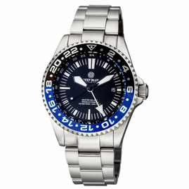 MASTER 500 42MM GMT AUTOMATIC DIVER-  ETA 2893-2  SWISS MADE MOVEMENT BLACK/BLUE BEZEL – WHITE GMT HAND