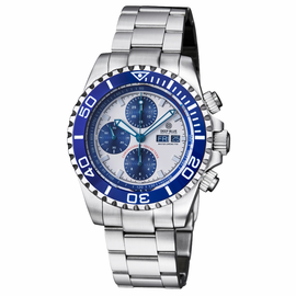 MASTER CHRONO 7750  AUTOMATIC DIVER WHITE BLUE SUBDIALS