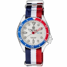 MILITARY DIVER 300 AUTOMATIC – SS DIVER RED/ BLUE BEZEL- WHITE  DIAL