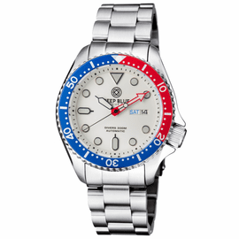MILITARY DIVER 300 AUTOMATIC – SS DIVER RED/ BLUE BEZEL- WHITE  DIAL BRACLT