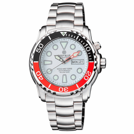 PRO SEA DIVER 1000M AUTOMATIC BLACK/RED BEZEL 20 30 40  WHITE  DIAL BRACELET RED MINUTE HAND