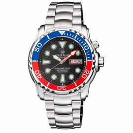 PRO SEA DIVER 1000M AUTOMATIC BLUE/RED BEZEL 20 30 40  BLACK DIAL BRACELET