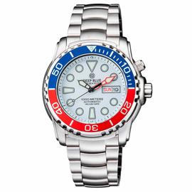 PRO SEA DIVER 1000M AUTOMATIC BLUE/RED BEZEL 20 30 40  WHITE  DIAL BRACELET