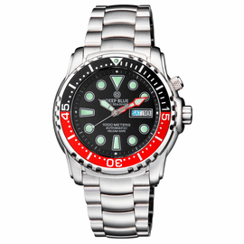PRO SEA DIVER 1000M BRACELET BLACK/RED  BEZEL - BLACK DIAL 15 30 45 RED MINUTE HAND
