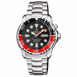 PRO SEA DIVER 1000M BRACELET BLACK/RED  BEZEL - BLACK DIAL 20/30/40/50 RED MINUTE HAND