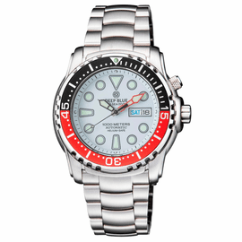 PRO SEA DIVER 1000M BRACELET BLACK/RED  BEZEL - WHITE DIAL 15 30 45 RED MINUTE HAND