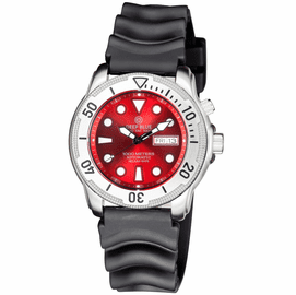 PRO TAC 1000M AUTOMATIC DIVER- SILVER BEZEL RED  DIAL