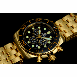 SEA RAM GOLD CHRONOGRAPH  CERAMIC BEZEL COLLECTION BLACK BLACK