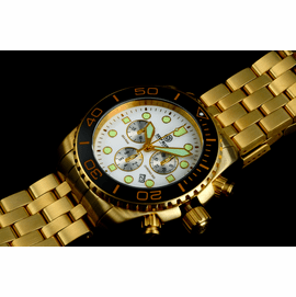 SEA RAM GOLD CHRONOGRAPH  CERAMIC BEZEL COLLECTION BLACK WHITE