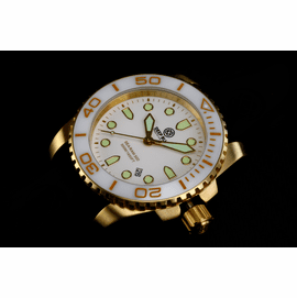 SEA RAM QUARTZ GOLD TONE WHITE CERAMIC BEZELWHITE DIAL