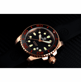 SEA RAM QUARTZ ROSE GOLD TONE BLACK CERAMIC BEZEL BLACK DIAL - SOLD OUT