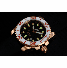 SEA RAM QUARTZ ROSE GOLD TONE WHITE CERAMIC BEZEL BLACK DIAL