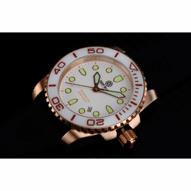 SEA RAM QUARTZ ROSE GOLD TONE WHITE CERAMIC BEZEL WHITE DIAL