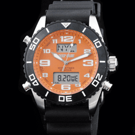 World Timer Orange Analog-Digital Watch