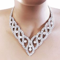 DAZZLER RHINESTONE NECKLACE AND EARRINGS SET