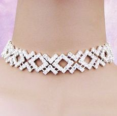 PRETTY PLEASE SILVER RHINESTONE CHOKER AND EARRING SET
