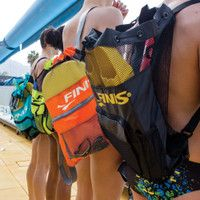 Swim Improvement Package in Mesh Carry Bag -  Package One contains swim goggles, hand paddles for all strokes, pull buoy, kickboard, swim fins, ear plugs, and nose clips.  Package Two contains all of the items in package one plus a breaststroke knee separator, learn to swim bar, and center mount snorkel.