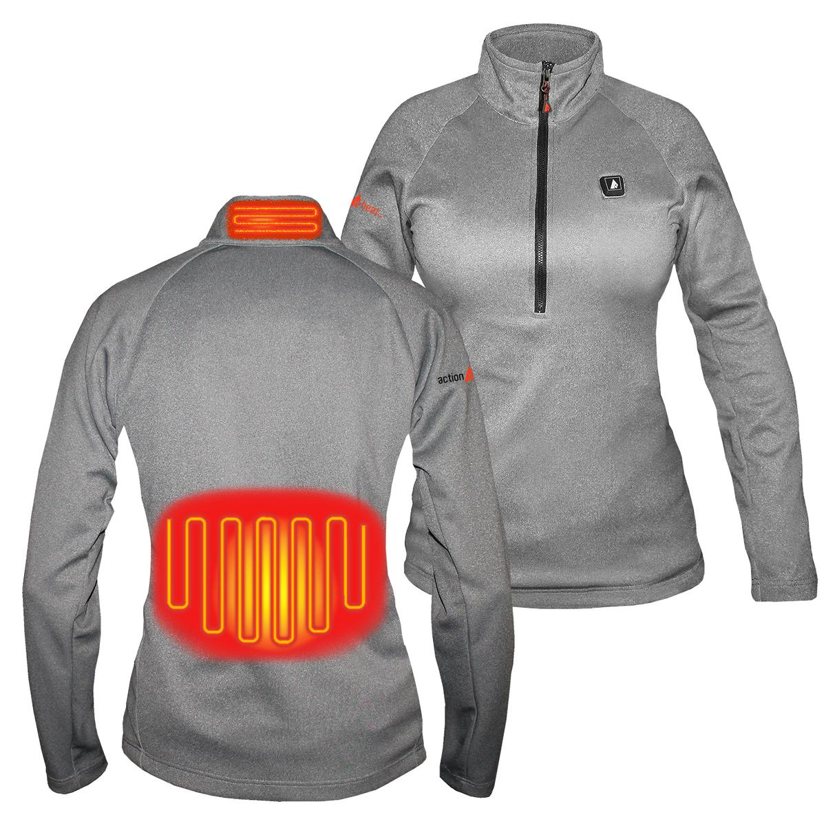 Battery Heated Clothing >> Actionheat 5v Battery Heated 1 2 Zip Pullover Shirt Women S The